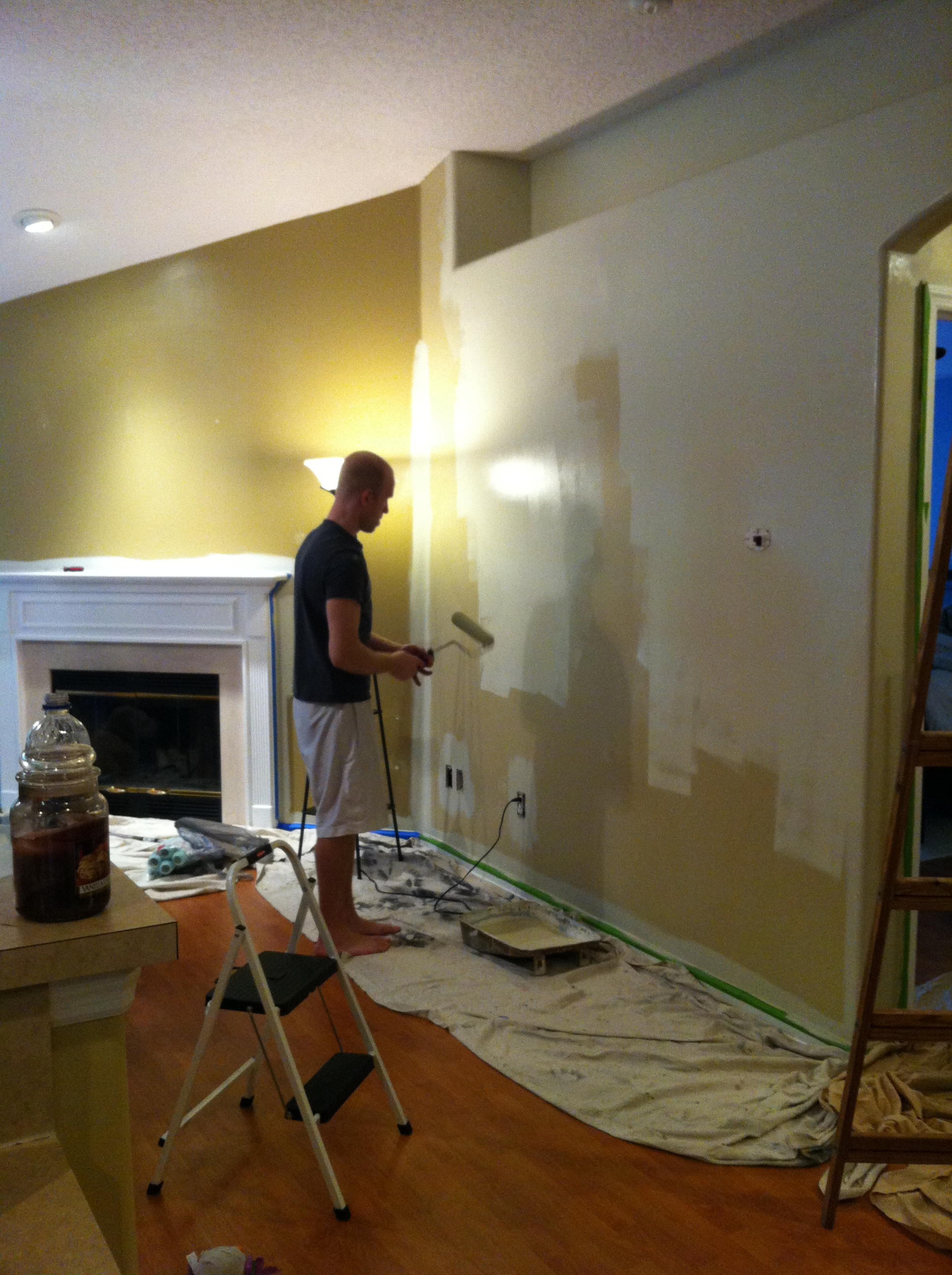 painting the living room and kitchen