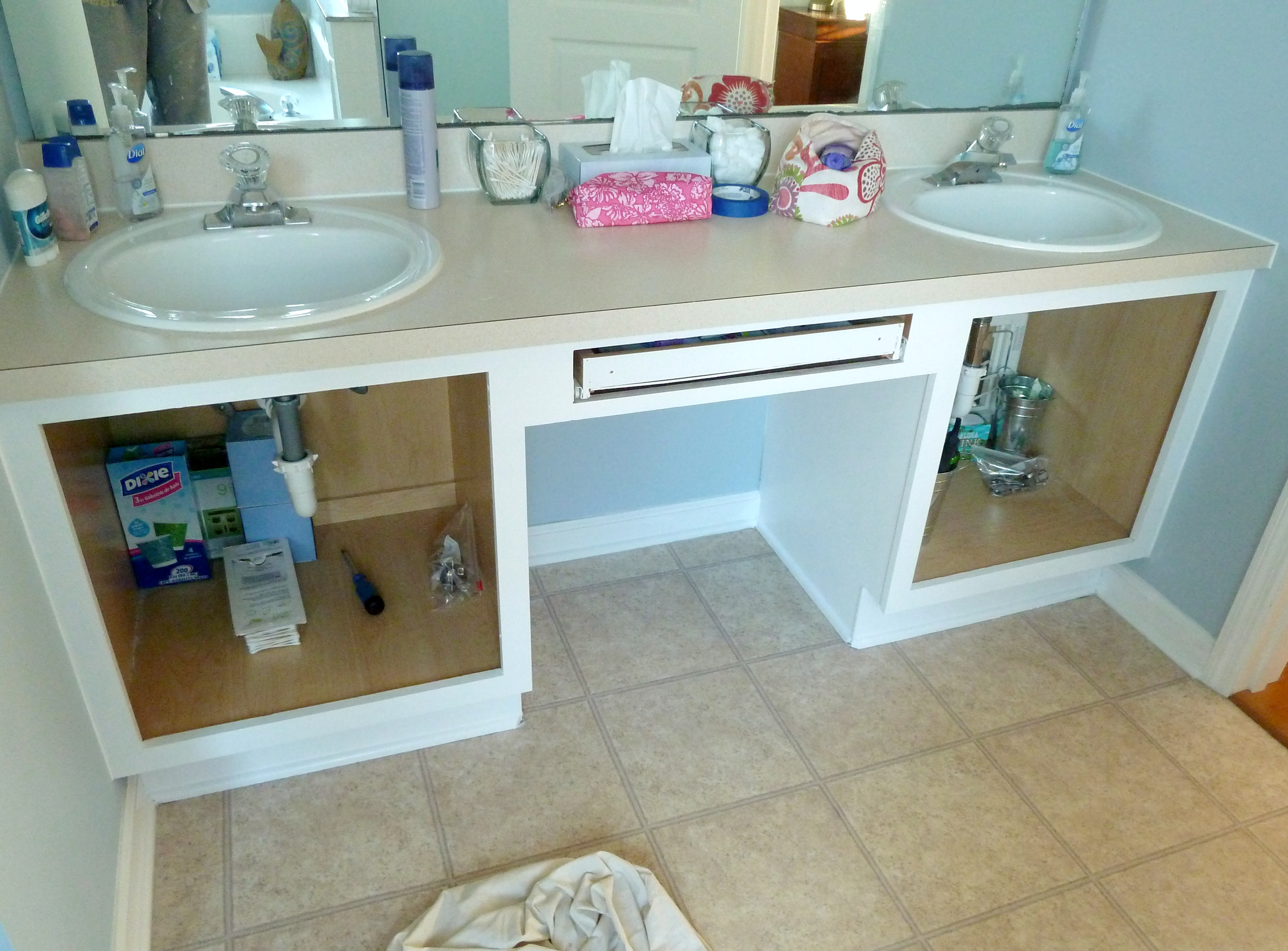 painting bathroom cabinets white | The Mace Place