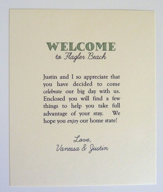 Wedding Welcome Note